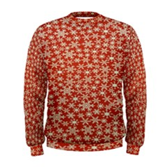 Holiday Snow Snowflakes Red Men s Sweatshirt by Nexatart