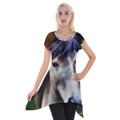 Horse Horse Portrait Animal Short Sleeve Side Drop Tunic by Nexatart