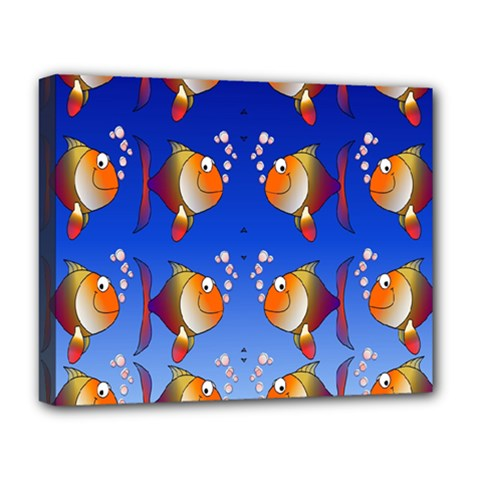 Illustration Fish Pattern Deluxe Canvas 20  X 16
