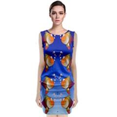 Illustration Fish Pattern Classic Sleeveless Midi Dress