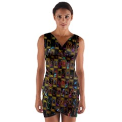 Kaleidoscope Pattern Abstract Art Wrap Front Bodycon Dress
