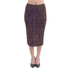 Leaf Pattern Green Wallpaper Tea Leather Velvet Midi Pencil Skirt by Nexatart