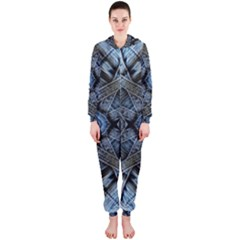 Jeans Background Hooded Jumpsuit (ladies)  by Nexatart