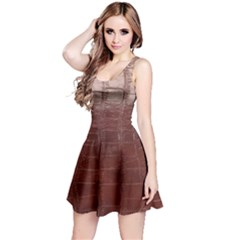 Leather Snake Skin Texture Reversible Sleeveless Dress