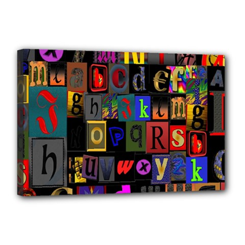 Letters A Abc Alphabet Literacy Canvas 18  X 12