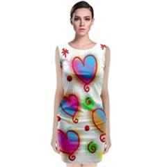 Love Hearts Shapes Doodle Art Classic Sleeveless Midi Dress