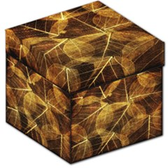 Leaves Autumn Texture Brown Storage Stool 12   by Nexatart