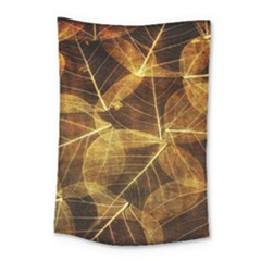 Leaves Autumn Texture Brown Small Tapestry by Nexatart