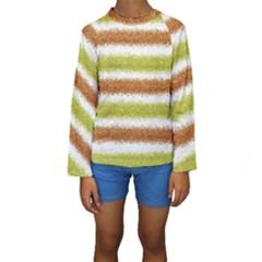 Metallic Gold Glitter Stripes Kids  Long Sleeve Swimwear