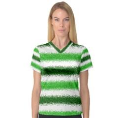 Metallic Green Glitter Stripes Women s V Neck Sport Mesh Tee