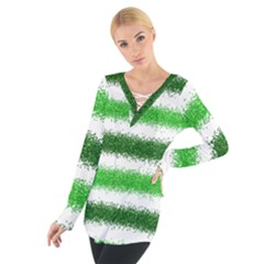 Metallic Green Glitter Stripes Women s Tie Up Tee