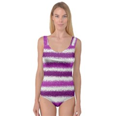 Metallic Pink Glitter Stripes Princess Tank Leotard  by Nexatart