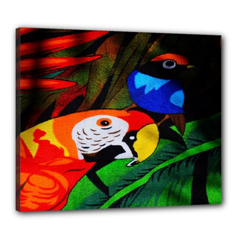 Papgei Red Bird Animal World Towel Canvas 24  X 20  by Nexatart