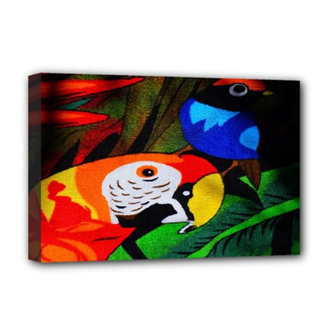 Papgei Red Bird Animal World Towel Deluxe Canvas 18  X 12   by Nexatart