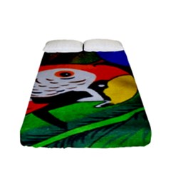 Papgei Red Bird Animal World Towel Fitted Sheet (full/ Double Size) by Nexatart