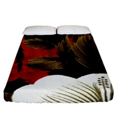 Paradis Tropical Fabric Background In Red And White Flora Fitted Sheet (california King Size)