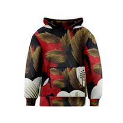 Paradis Tropical Fabric Background In Red And White Flora Kids  Pullover Hoodie