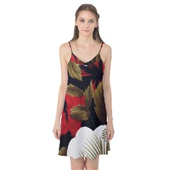 Paradis Tropical Fabric Background In Red And White Flora Camis Nightgown by Nexatart