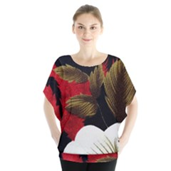 Paradis Tropical Fabric Background In Red And White Flora Blouse