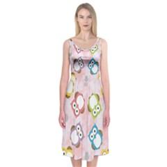 Owl Bird Cute Pattern Midi Sleeveless Dress by Nexatart