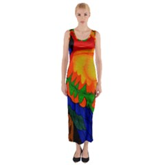 Parakeet Colorful Bird Animal Fitted Maxi Dress