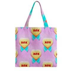 Pastel Heart Zipper Grocery Tote Bag by Nexatart