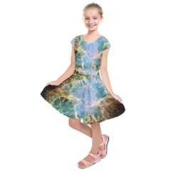 Crab Nebula Kids  Short Sleeve Dress by SheGetsCreative