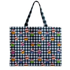 Cupcakes Plaid Pattern Medium Tote Bag by Valentinaart