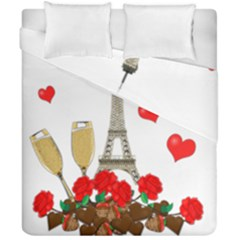 Romance In Paris Duvet Cover Double Side (california King Size) by Valentinaart