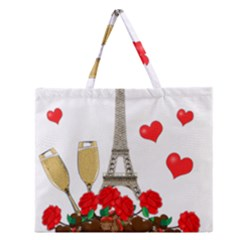Romance In Paris Zipper Large Tote Bag by Valentinaart