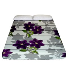 Purple Vintage Flowers Fitted Sheet (queen Size) by Valentinaart