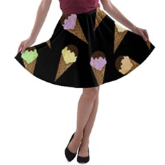 Ice Cream Cute Pattern A Line Skater Skirt by Valentinaart