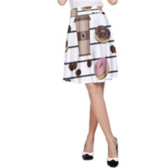 Donuts and coffee pattern A-Line Skirt by Valentinaart