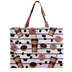 Donuts And Coffee Pattern Medium Tote Bag by Valentinaart