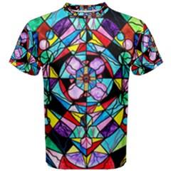 Sacred Geometry Grid   Men s Cotton Tee by tealswan