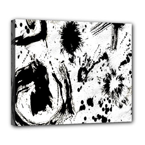 Pattern Color Painting Dab Black Deluxe Canvas 24  X 20