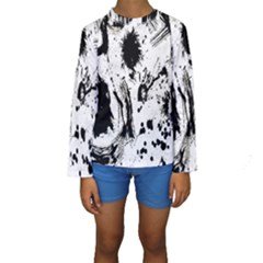 Pattern Color Painting Dab Black Kids  Long Sleeve Swimwear