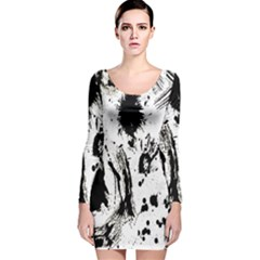 Pattern Color Painting Dab Black Long Sleeve Velvet Bodycon Dress by Nexatart