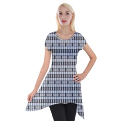 Pattern Grid Squares Texture Short Sleeve Side Drop Tunic by Nexatart