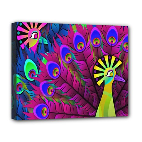 Peacock Abstract Digital Art Deluxe Canvas 20  X 16