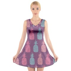 Pineapple Pattern  V Neck Sleeveless Skater Dress by Nexatart