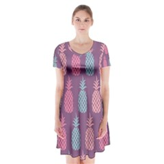 Pineapple Pattern  Short Sleeve V Neck Flare Dress by Nexatart