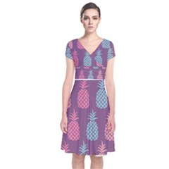 Pineapple Pattern  Short Sleeve Front Wrap Dress by Nexatart