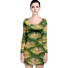 Pineapple Pattern Long Sleeve Velvet Bodycon Dress by Nexatart