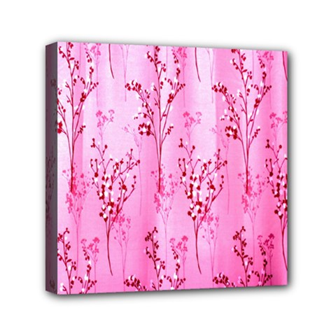 Pink Curtains Background Mini Canvas 6  X 6