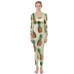 Pineapple Wallpaper Pattern Long Sleeve Catsuit by Nexatart