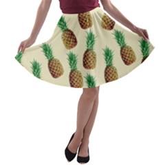 Pineapple Wallpaper Pattern A Line Skater Skirt by Nexatart
