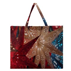 Poinsettia Red Blue White Zipper Large Tote Bag by Nexatart