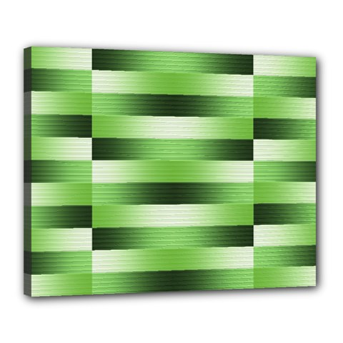 Pinstripes Green Shapes Shades Canvas 20  X 16  by Nexatart