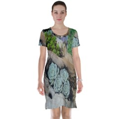 Plant Succulent Plants Flower Wood Short Sleeve Nightdress by Nexatart